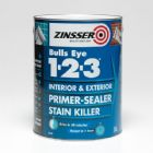 Zinsser Bulls Eye 1-2-3 Water-Based Primer-Sealer - Stain Killer 1 Litre